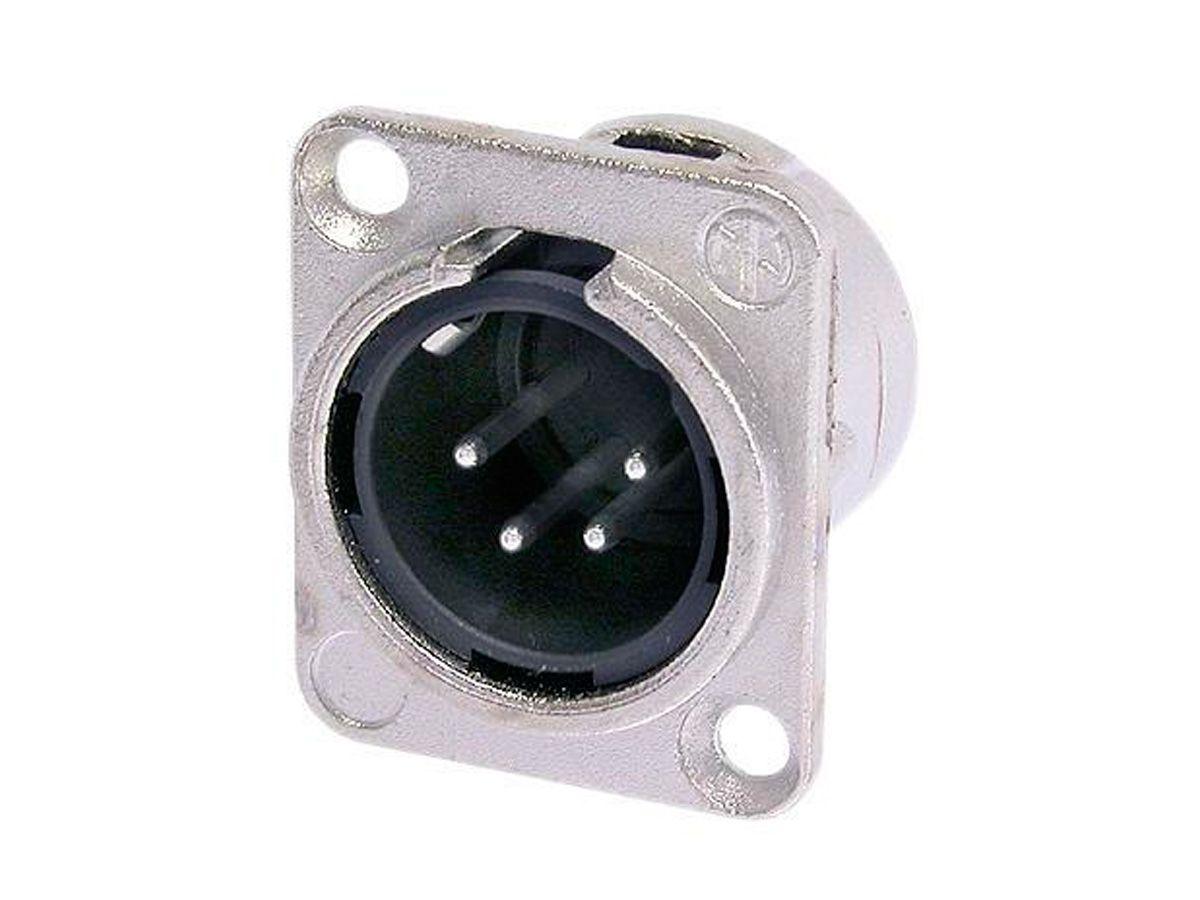 Conector XLR macho de painel com 4 polos em níquel e contatos de prata | Neutrik | NC4MDL-1