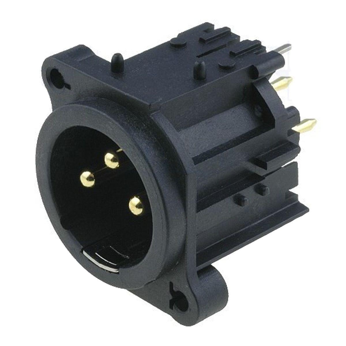 Conector XLR macho vertical 3 pinos para PCB / PCI | Amphenol | AC3MAV-AU-B