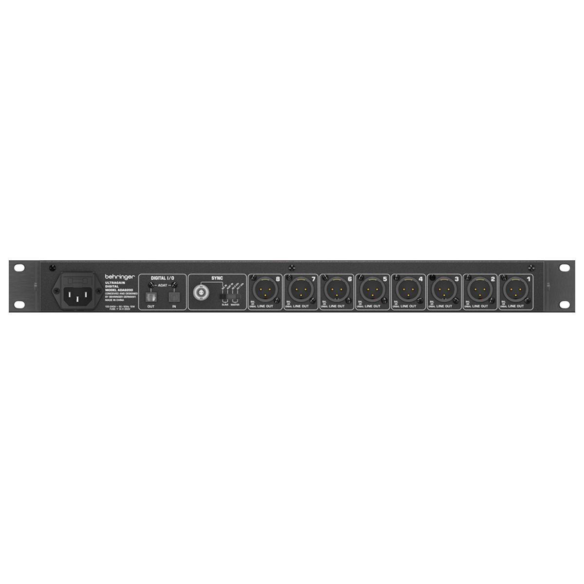 Conversor de áudio  8 canais ADAT Behringer ADA8200