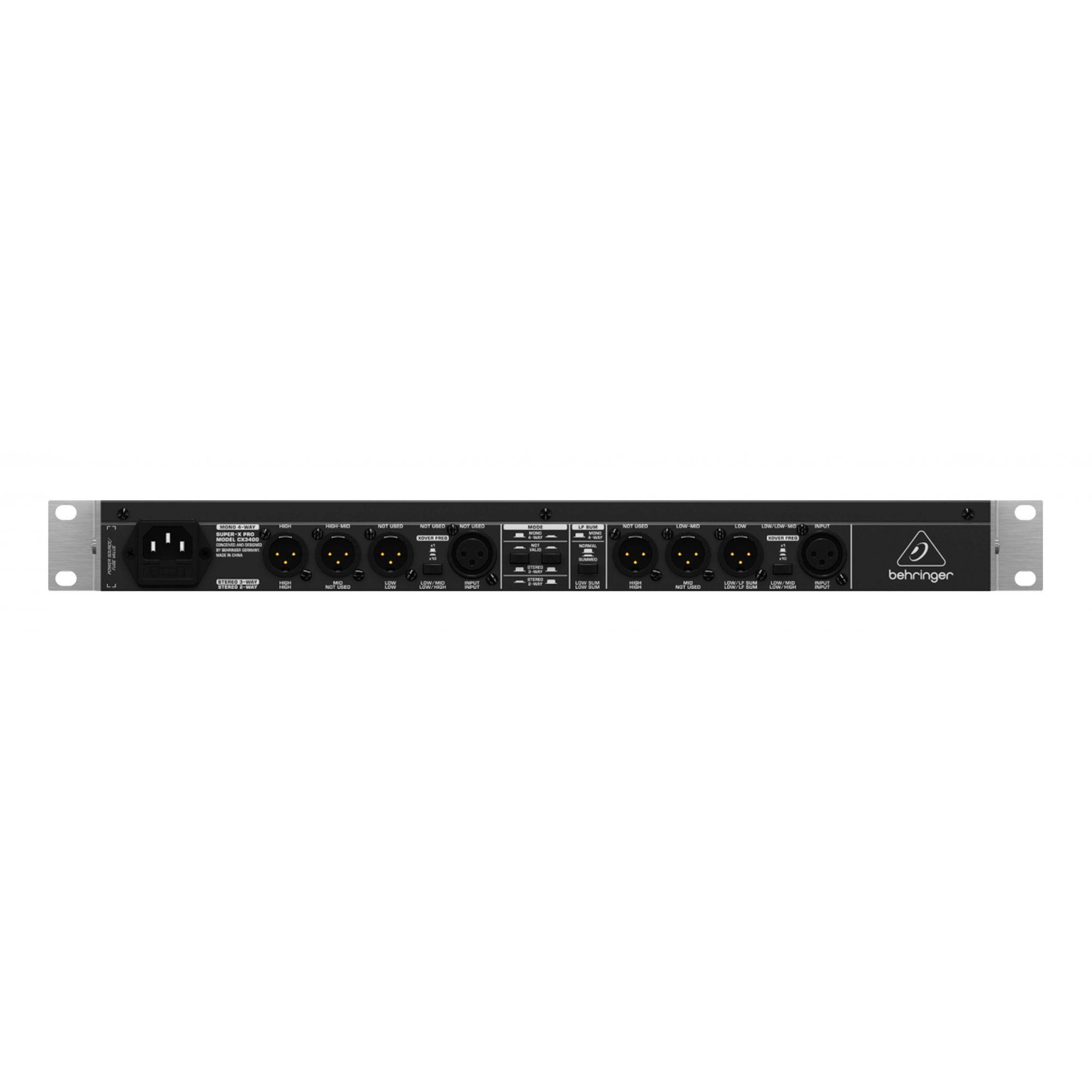 Crossover com 3 vias estéreo ou 4 vias mono| Limiter individual, Delay e Saida Sub | Behringer | SUPER-X PRO CX3400