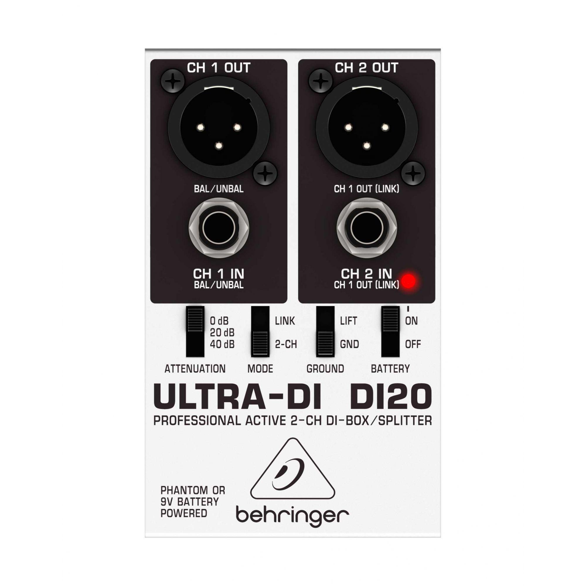 Direct Box e Splitter ativo com 2 canais, bateria 9v, atenuação e aterramento | Behringer | DI20