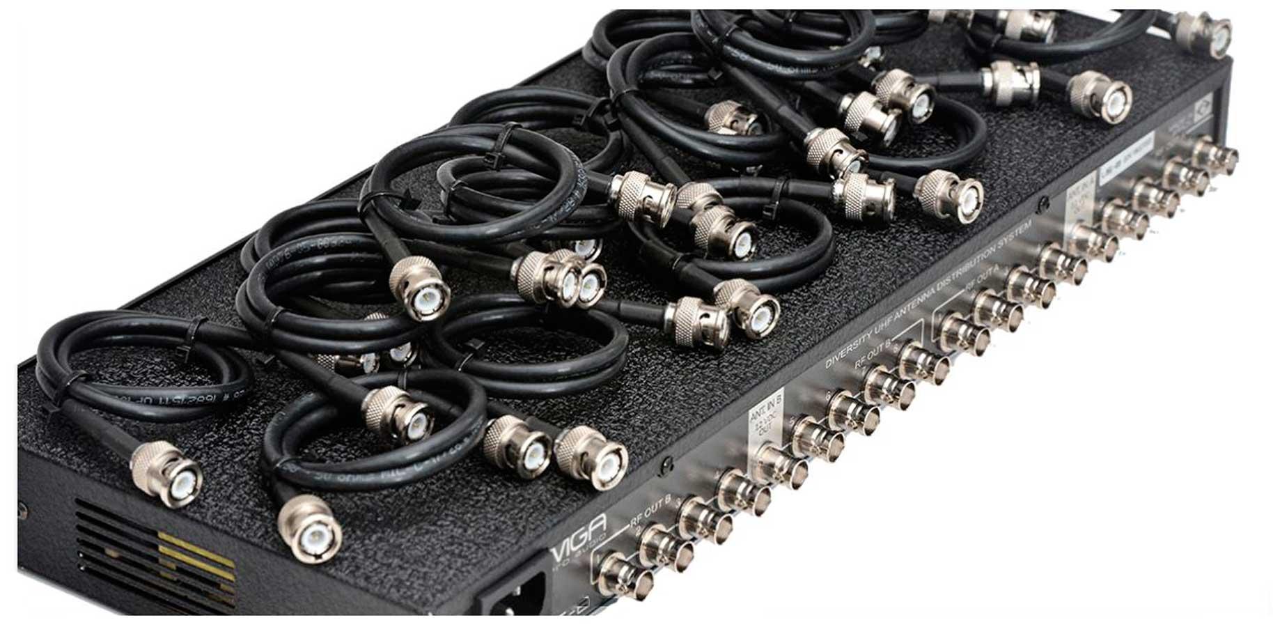 Distribuidor ativo para até 8 receptores e 1 par de antenas UHF 470 ~ 952 MHz   MGA Pro Audio   US-8