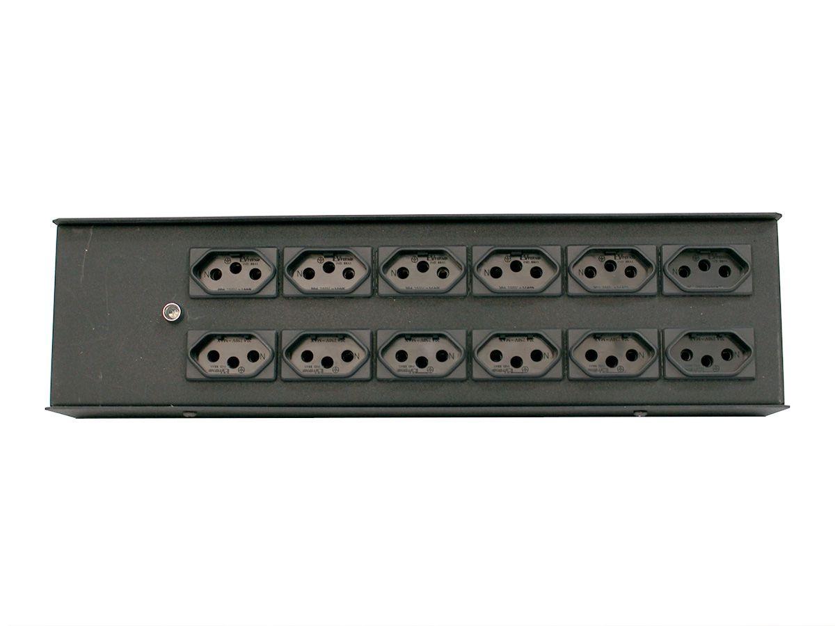 Distribuidor de energia, régua de chão com 12 tomadas novo padrão NBR | Entrada via conexão PowerCON | Parthson | P12TPC/NBR