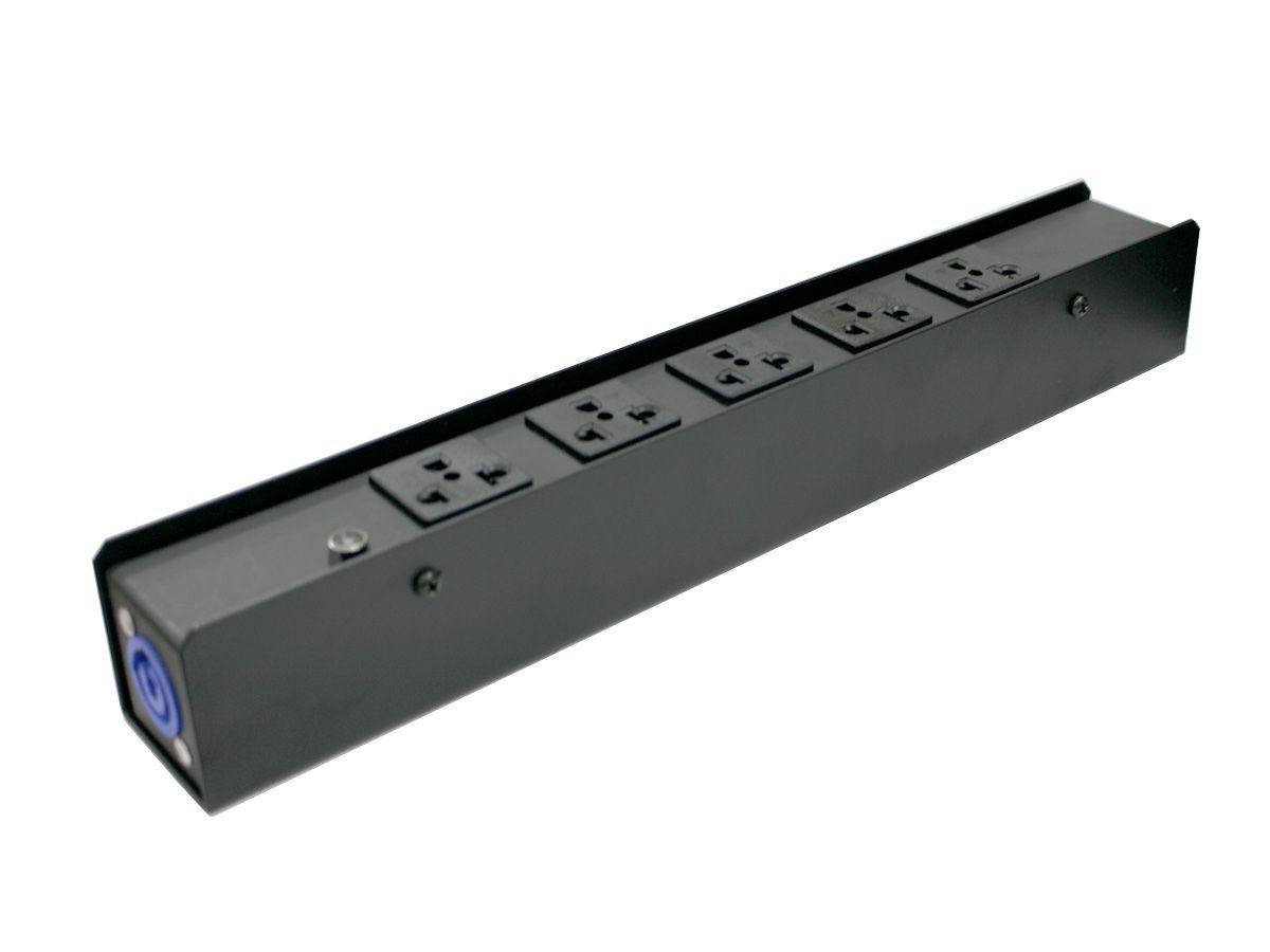Distribuidor de energia, régua de chão com 5 tomadas  padrão antigo NM | Entrada e Saída de conexão PowerCON | Parthson | P5T2PC/NM