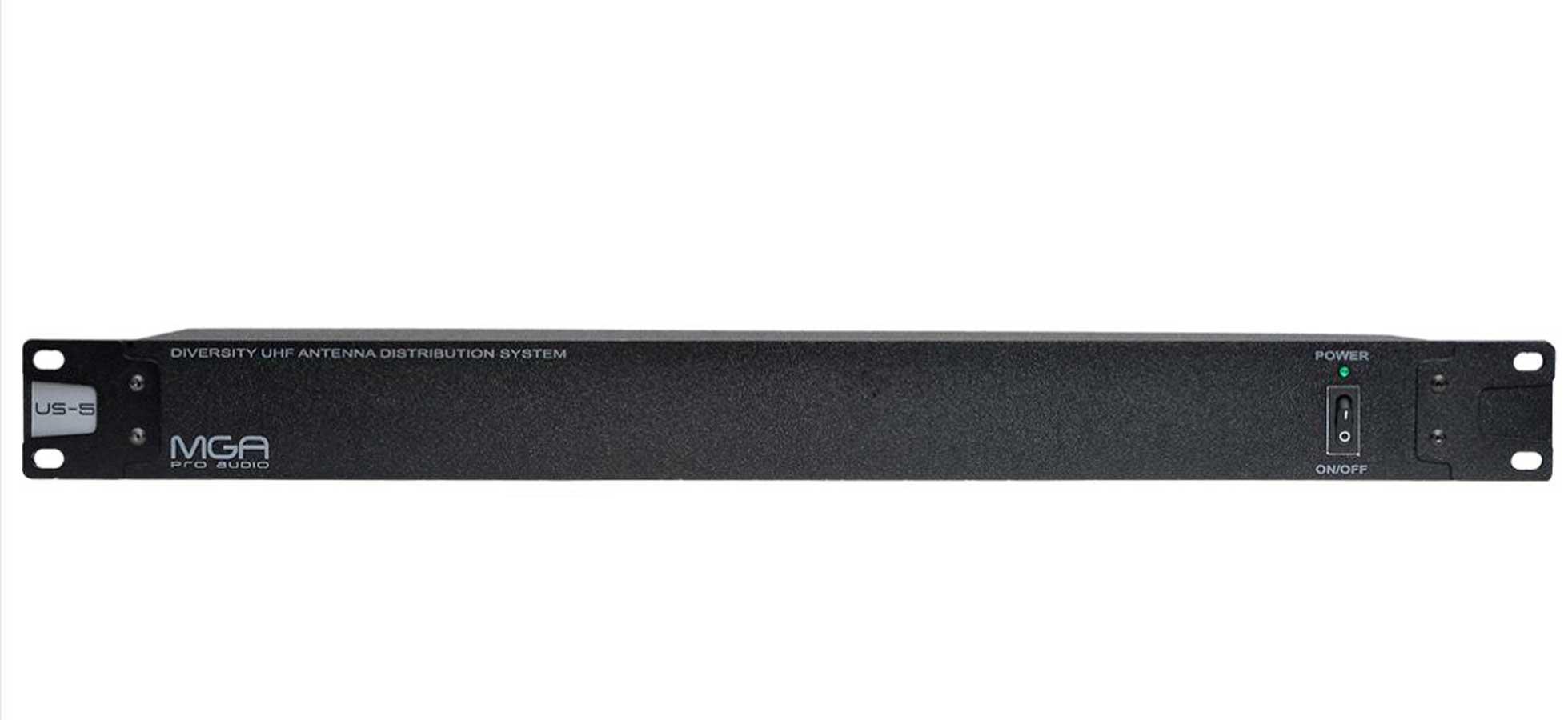 Distribuidor de RF ativo | até 5 receptores e 1 par de antenas | 470 ~ 952 MHz | MGA Pro Audio | US-5
