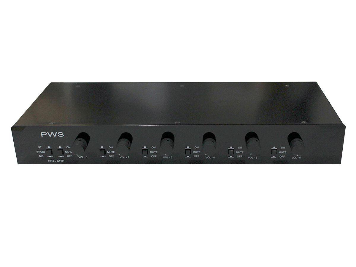Distribuidor e Setorizador passivo para som ambiente com 6 controles de volume e mute | PWS | SST-612P
