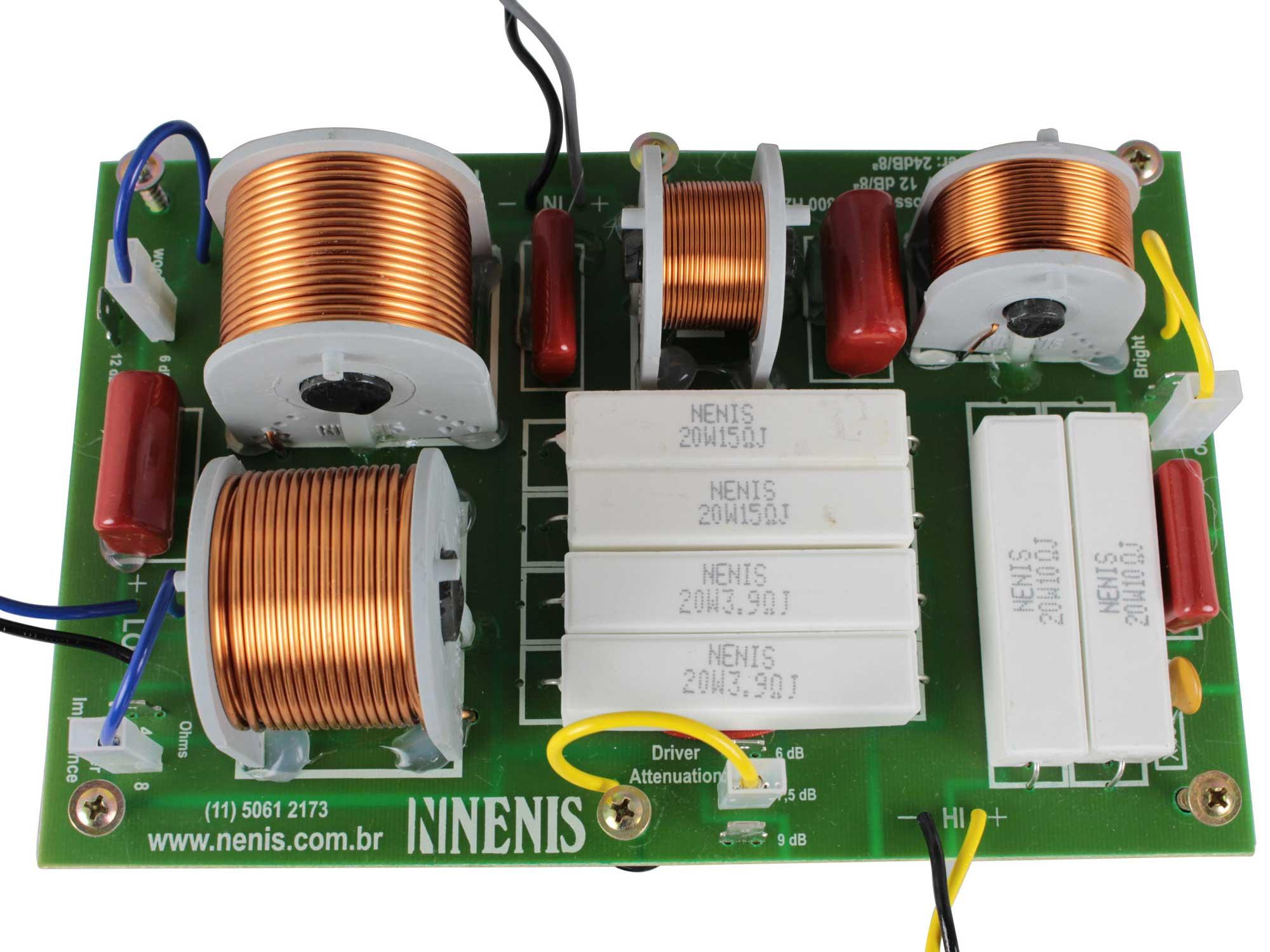 Divisor de Frequência 2 vias Passivo | 1 ou 2 Alto-falantes + 1 Driver Titanium de até 1200W RMS | DF1202TI | Nenis