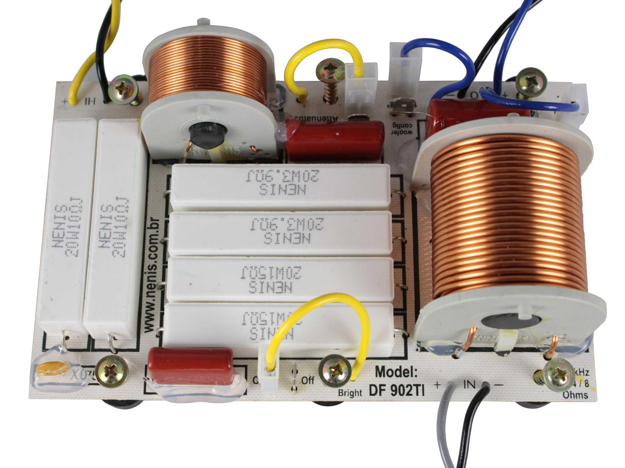 Divisor de Frequência 2 vias  Passivo | 1 ou 2 Alto-falantes + 1 Driver Titanium de até 900W RMS | DF902TI | Nenis