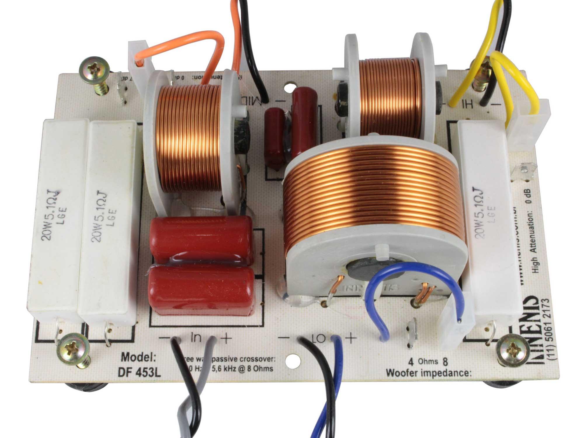 Divisor de Frequência 3 vias Passivo | 1 ou 2 Alto-falantes de grave, 1 Alto-falante de médio e 1 Tweeter de até 450W RMS | DF453L | Nenis
