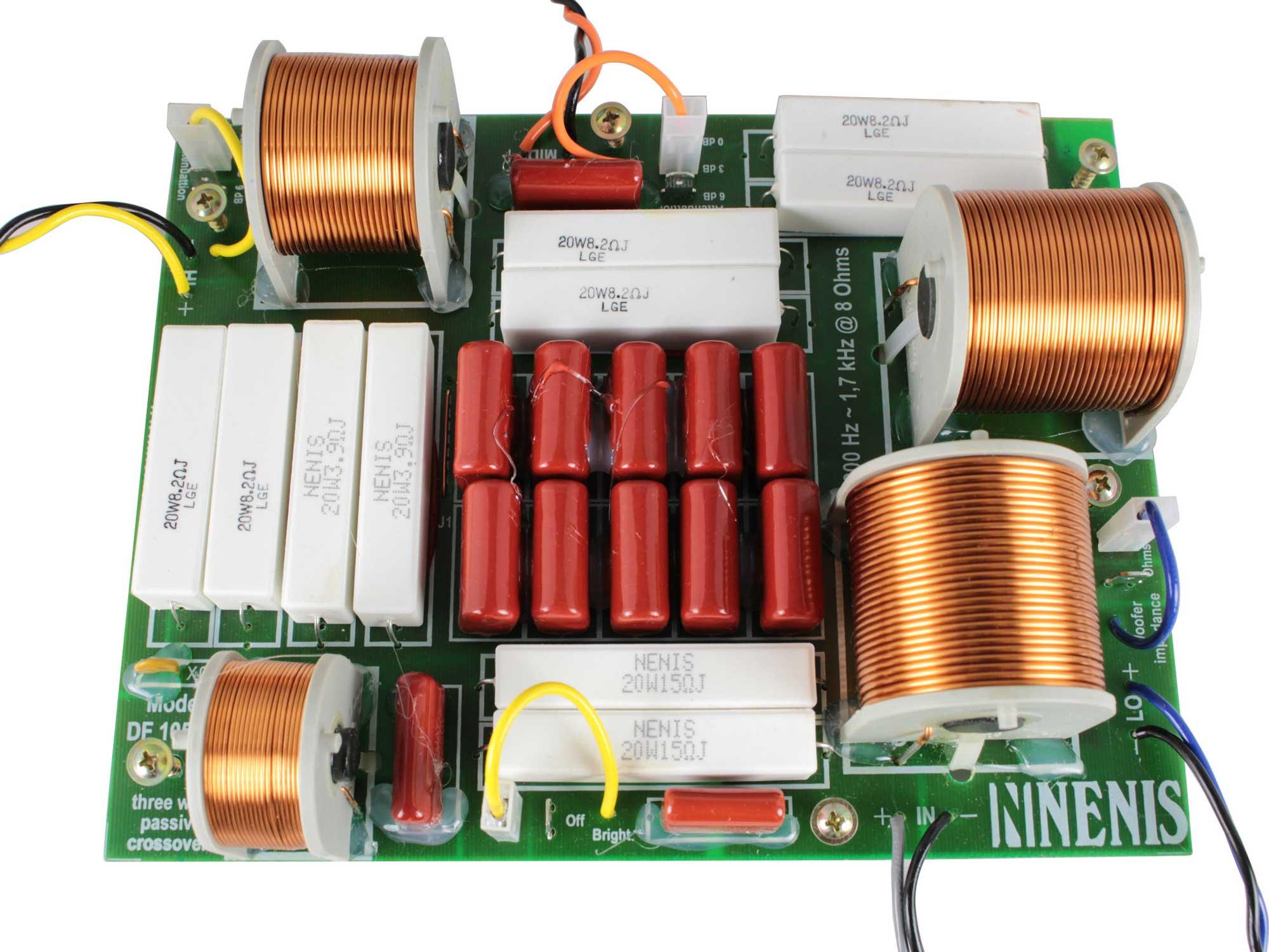 Divisor de Frequência 3 vias Passivo | 1 ou 2 Alto-falantes de grave, 1 Alto-falante de medio e Driver de Titanium de até 1050W RMS | DF1053TI | Nenis