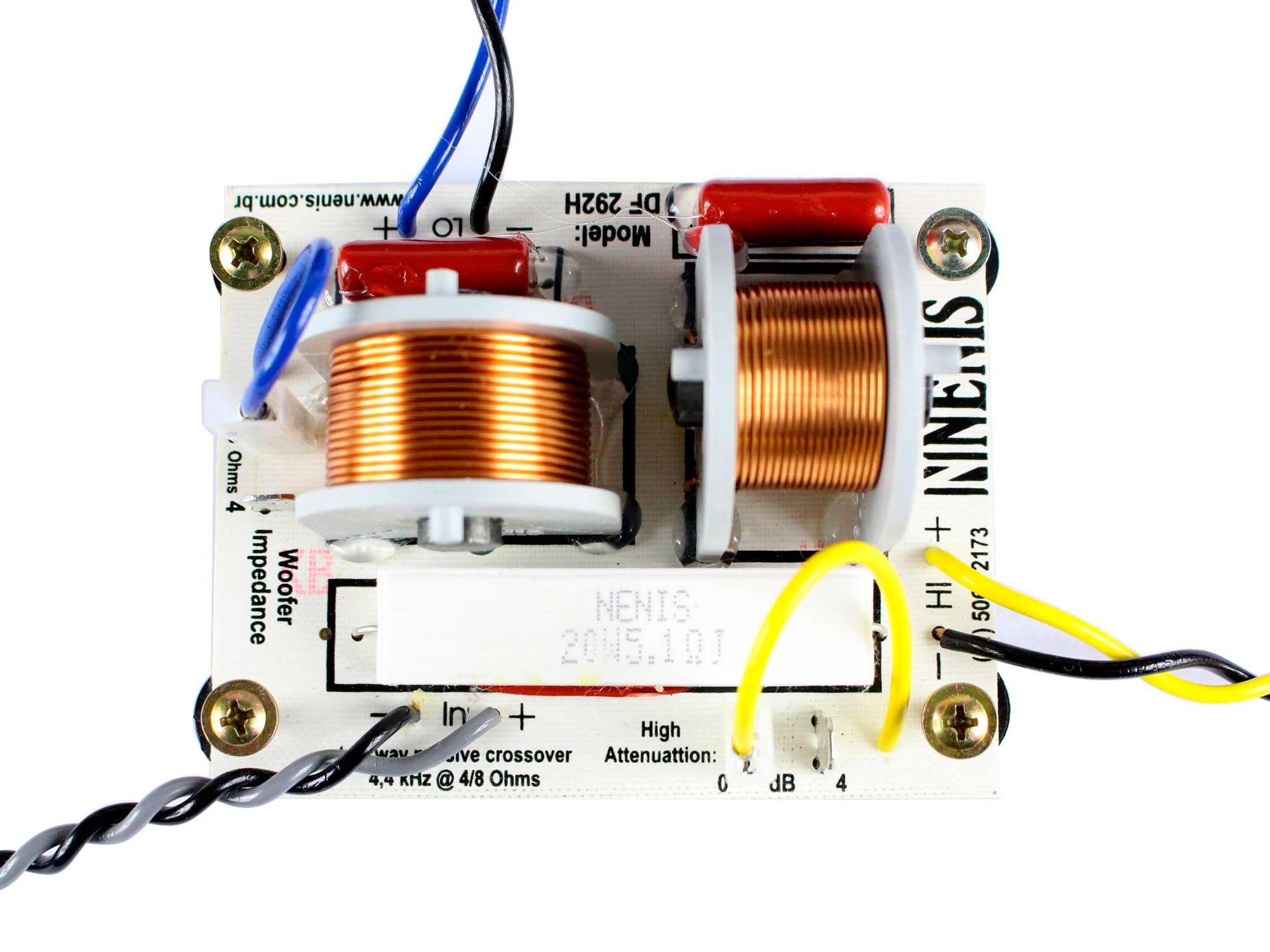 Divisor de Frequência Passivo 2 vias | 1 ou 2 Alto Falantes + 1 Tweeter  de até 290W RMS | DF292H | Nenis