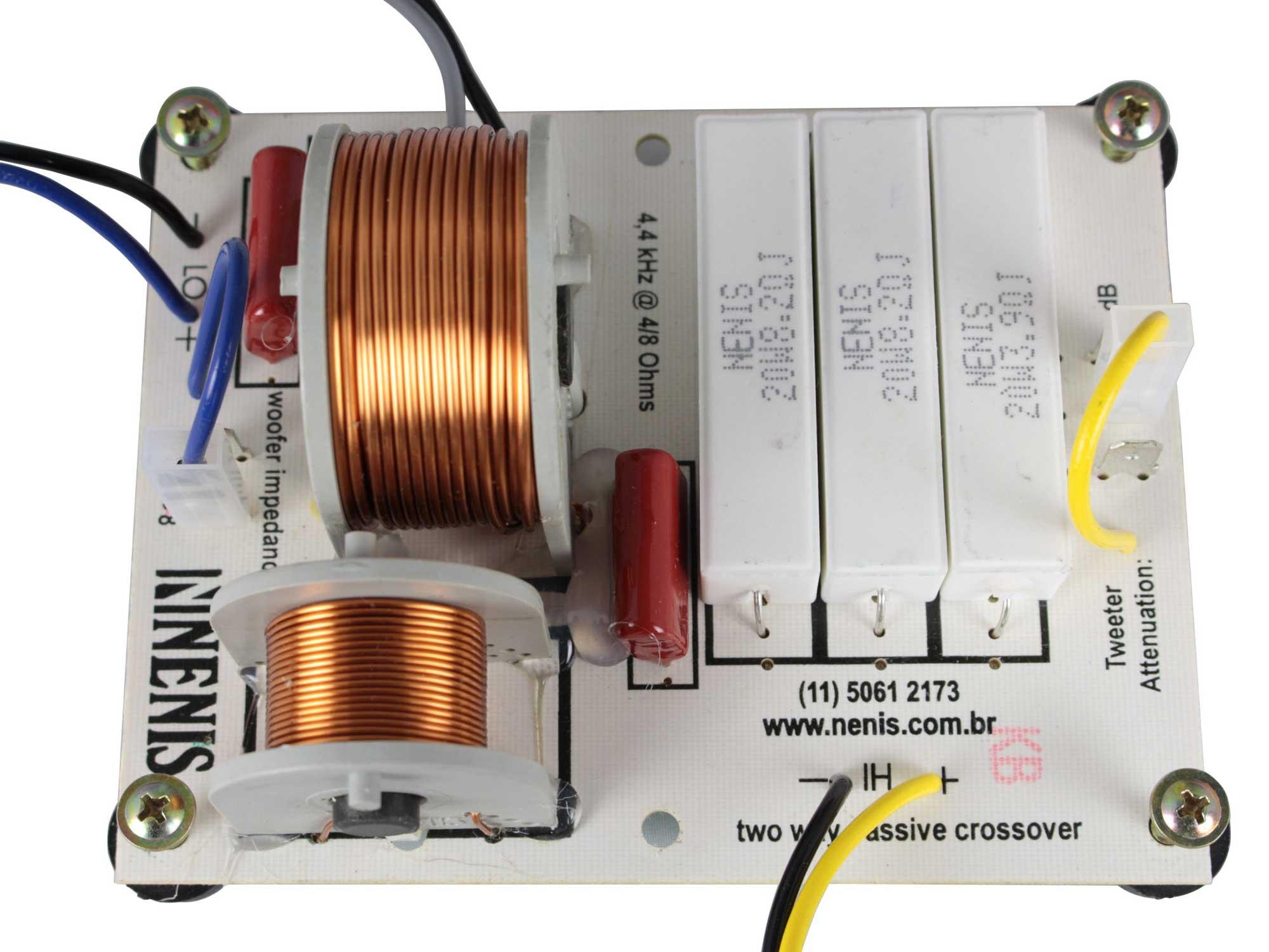 Divisor de Frequência Passivo 2 vias | 1 ou 2 Alto-falantes + 1 Tweeter de até 890W RMS | DF892H | Nenis