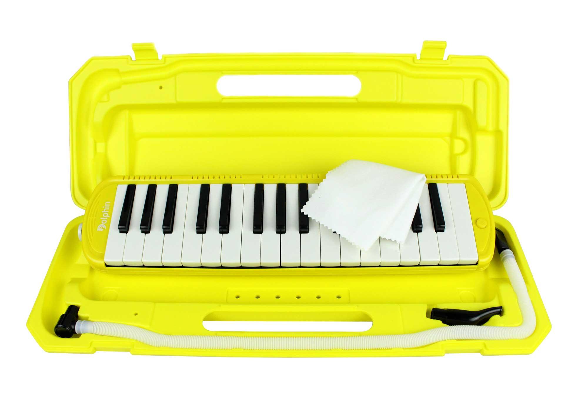 Escaleta melodica de 32 teclas na cor amarela | Alcance de F a C | Dolphin | ESCALETA32AM