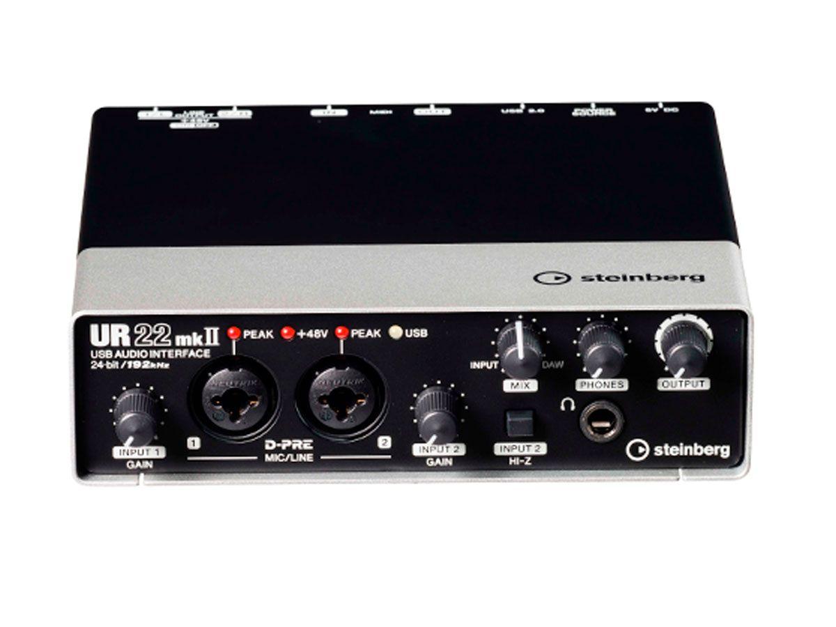 Interface de áudio e MIDI via USB com 2 pré-ampli e 2 Line out em 24bit/192kHz | Steinberg | UR22MKII