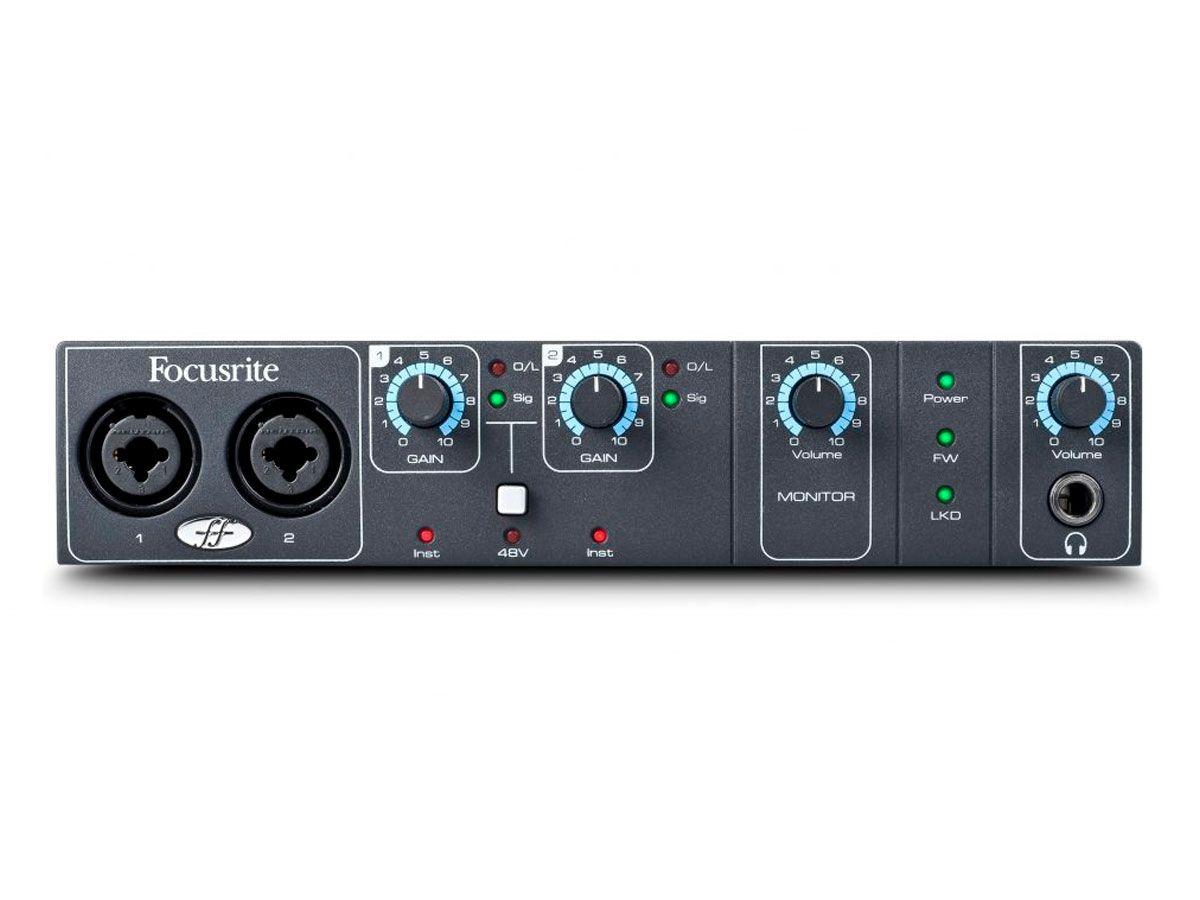 Interface de áudio Firewire com 2 pré-ampli, 4 saídas e MIDI | 96kHz 24bit | Focusrite | Saffire Pro 14