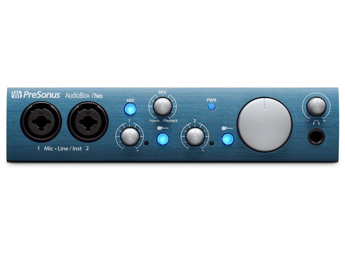 Interface de áudio USB 2.0 para gravação em Windows, Mac e Ipad | 2 canais de entrada e MIDI | Presonus | AudioBox iTwo