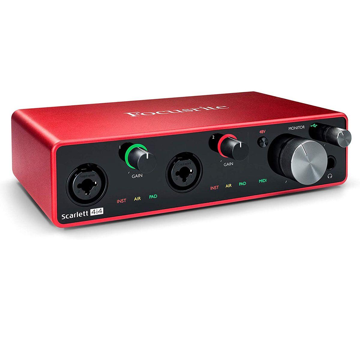 Interface de áudio USB com 2 pré-amplificadores, 2 entradas de linha e MIDI| 192kHz 24bit | Focusrite | Scarlett 4i4 3rd Gen