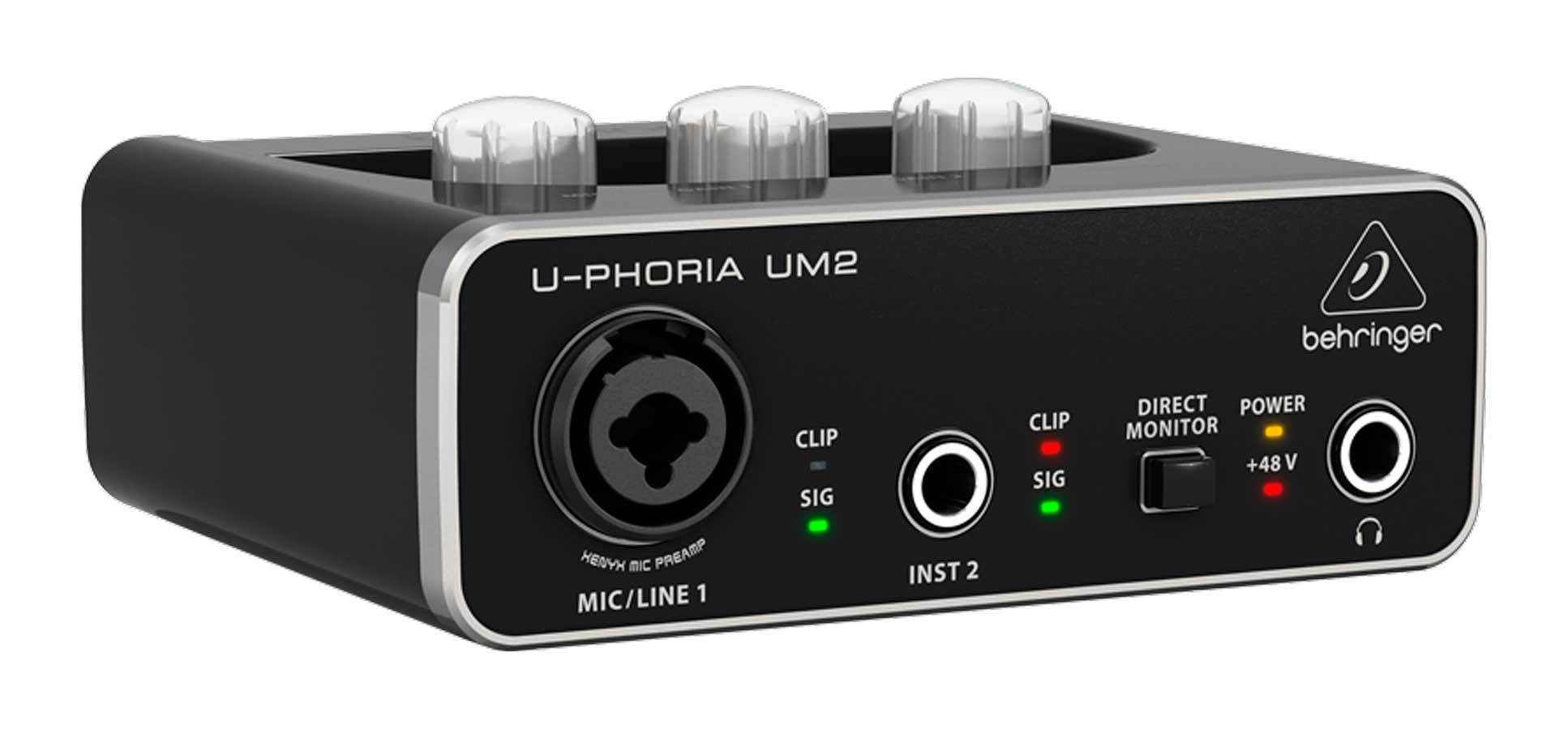 Interface USB com 2 entradas e 48v Behringer UM2
