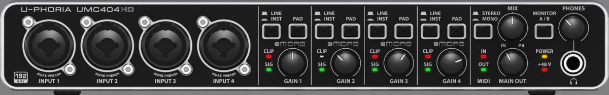 Interface de Áudio USB Behringer UMC4040HD 4x4 96KHz