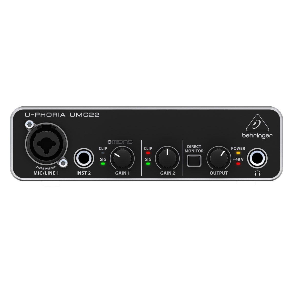 Interface USB 2 entradas, 48V, 24 / 48 kHz Behringer UMC22