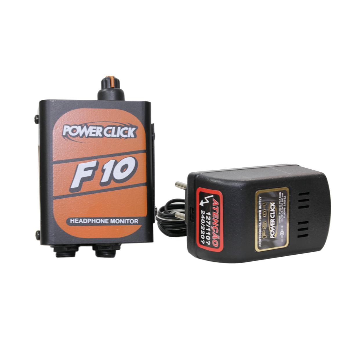 Kit 1 Amplificador Power Click F10 + 1 Fonte Bivolt PS01