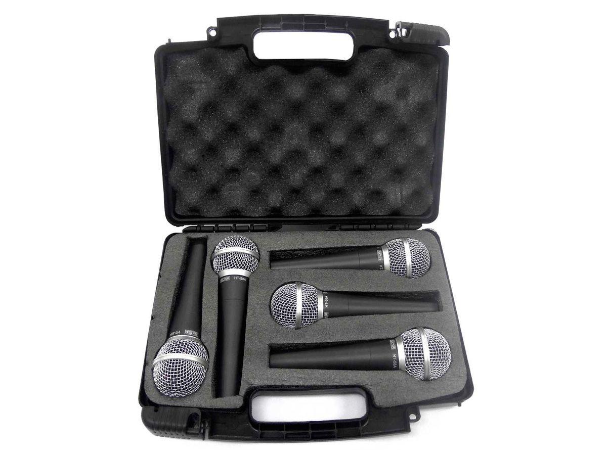 Kit 5 microfones dinâmicos mão + maleta CSR KIT HT58A-5