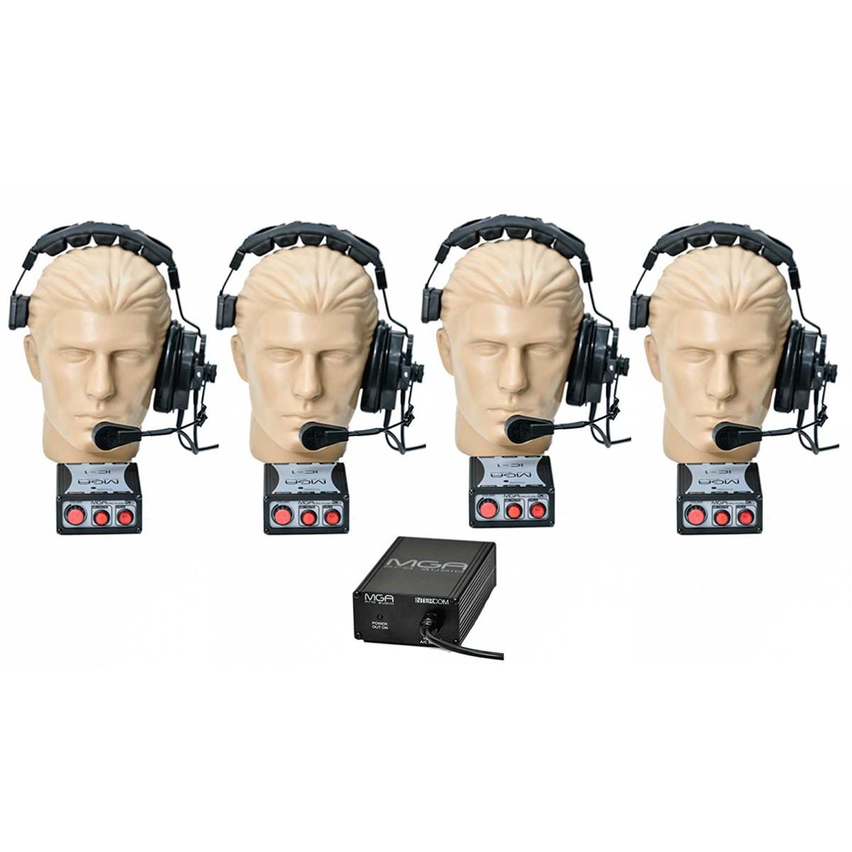 Kit comunicação intercom p/ 4 pessoas MGA Pro Audio SI40