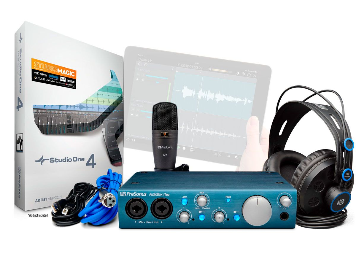 Kit Estúdio com interface USB de 2 canais em 24 bits, 96 kHz, Microfone e Head Phone   Presonus   AudioBox iTwo Studio