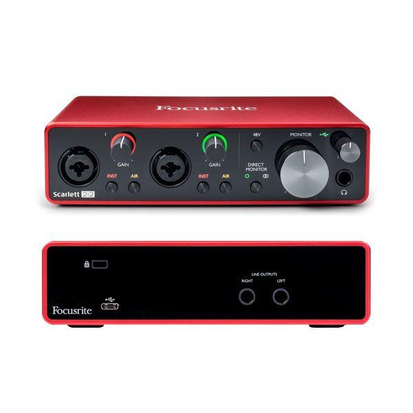 Kit Interface, Microfone e Fone Focusrite Scarlett 2i2 Studio 3G