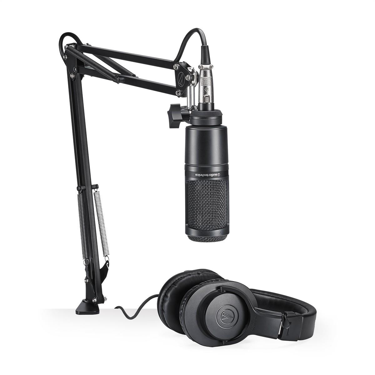 Kit Microfone Fone e Suporte Audio-technica AT2020PK