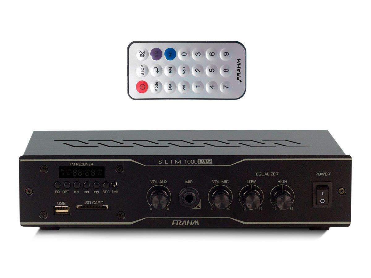 Kit para som ambiente com 1 amplificador + 12 arandelas | Natts, Frahm | SLIM 1000 USB/FM, AR6C
