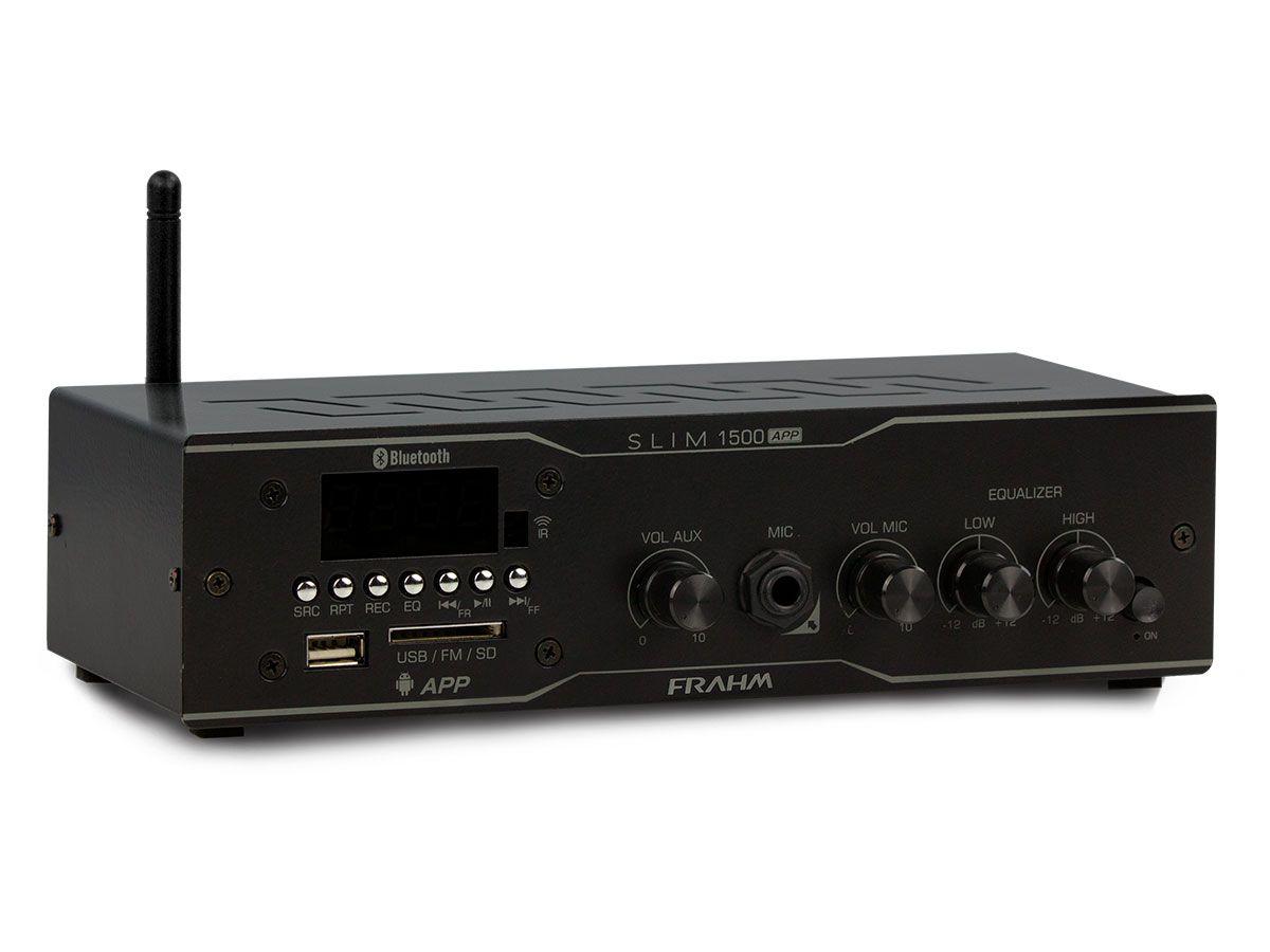 Kit para som ambiente com 1 amplificador de 2 canais + 12 arandelas | Natts, Frahm | SLIM 1500 APP - AR6C