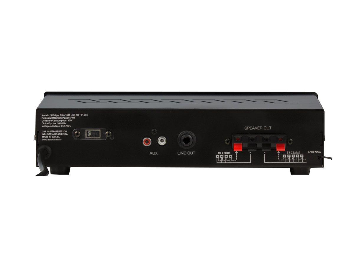 Kit para som ambiente com 1 amplificador + 2 caixas de 4 polegadas | Frahm | SLIM 1000 USB/FM, PS4PLUS