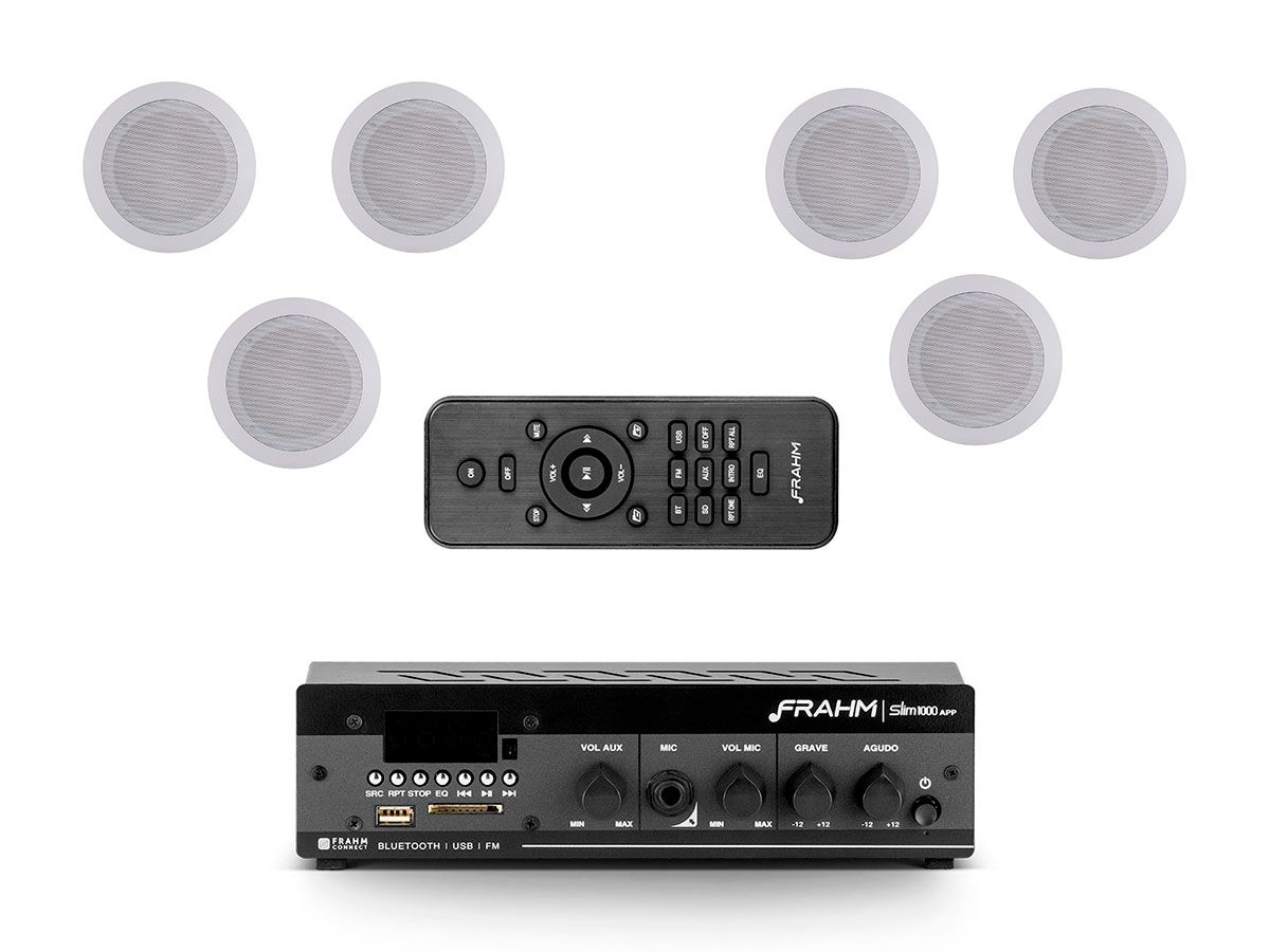 Kit para som ambiente com 1 amplificador + 6 arandelas | Natts, Frahm | SLIM 1000 APP G2 - AR6C