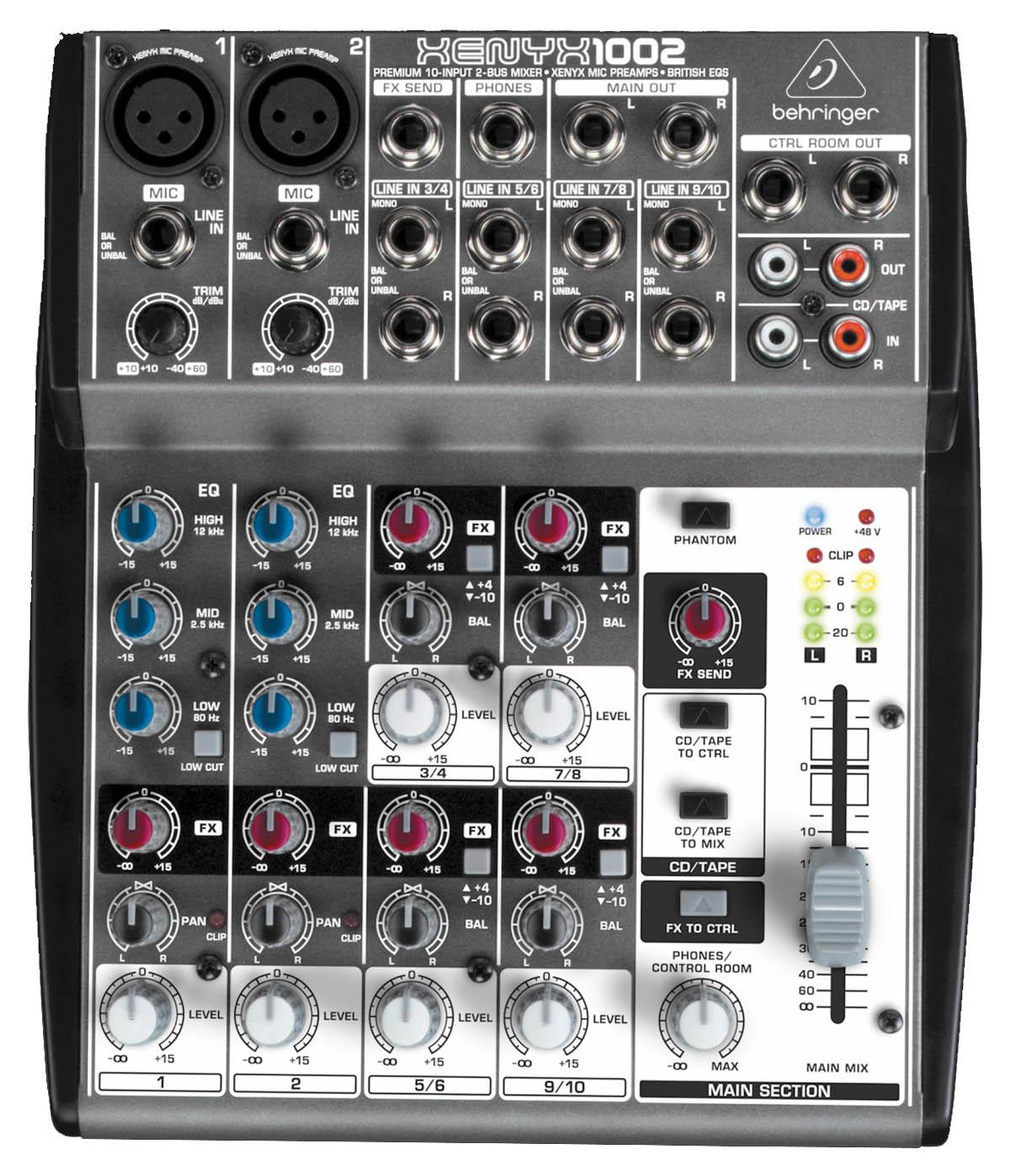 Mesa 2 canais XLR + 4 Estéreo Behringer XENYX 1002