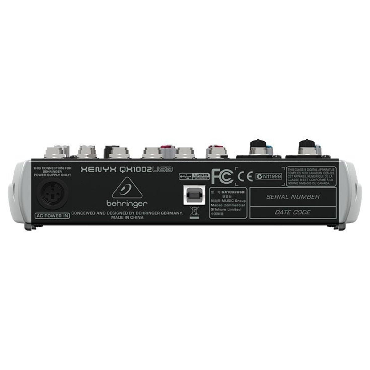 Mesa 2 canais XLR, 4 estéreo FX, 48v USB Behringer QX1002USB