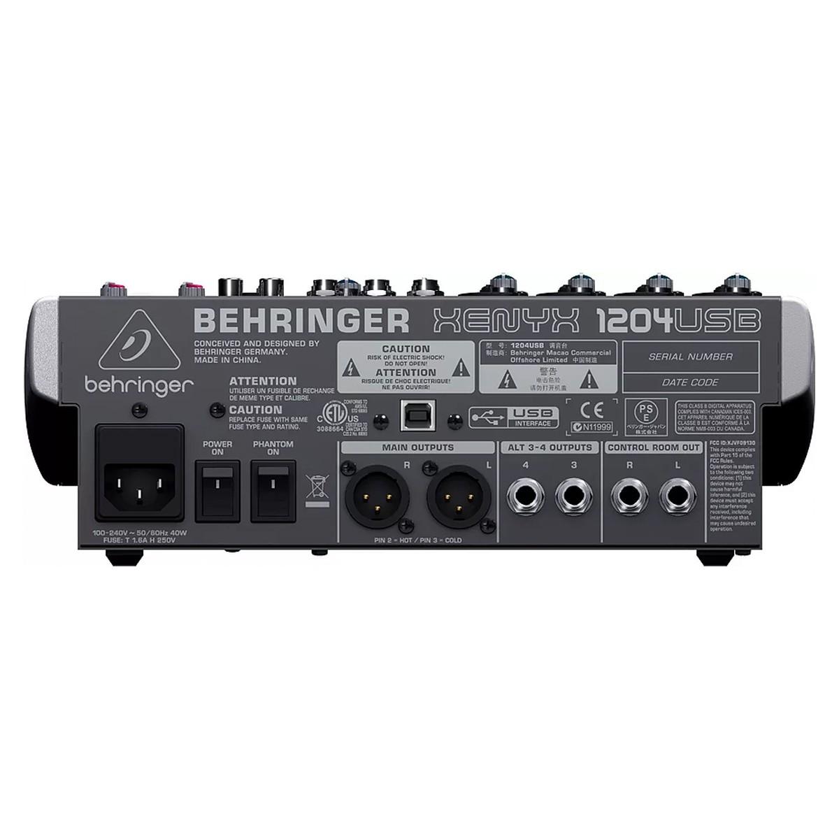 Mesa 4 canais XLR + 2 Estéreo USB Behringer XENYX 1204USB