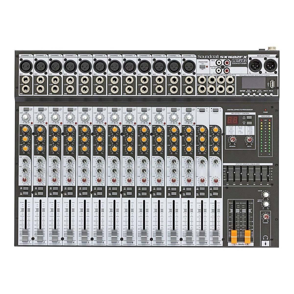 Mesa analogica 16 entradas AUX FX MP3 Soundcraft SX1602FX