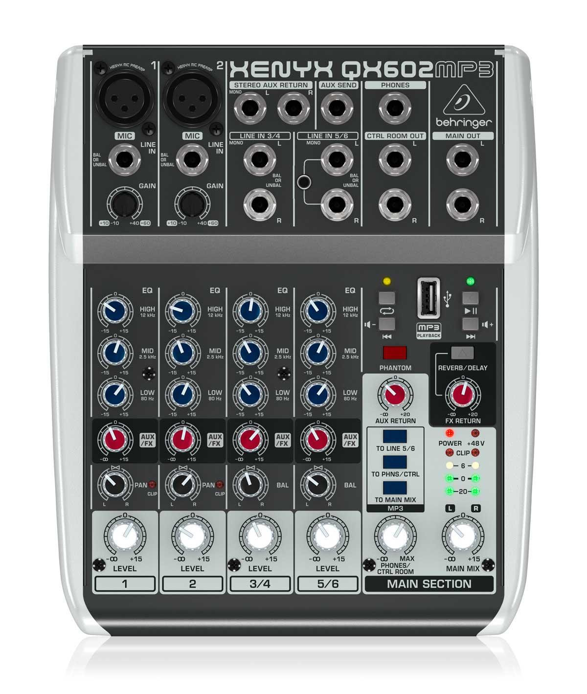 Mesa analógica 4 canais   2 canais XLR + 2 canais estéreo, EQ, MP3 Player e FX   Behringer QX602MP3