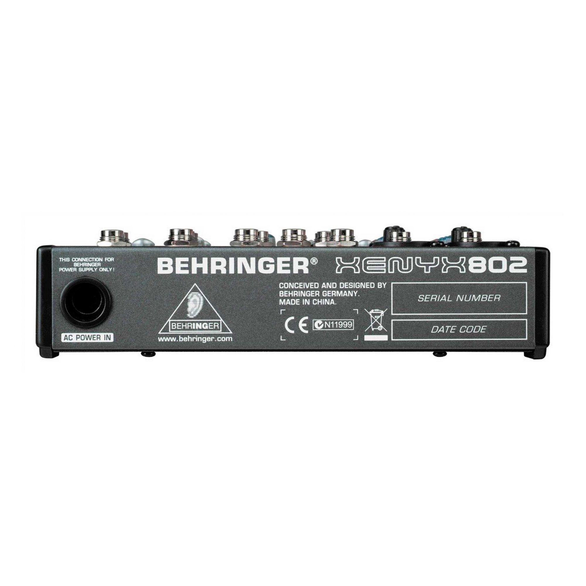 Mesa 2 canais XLR + 2 estére, AUX e 48v Behringer XENYX802