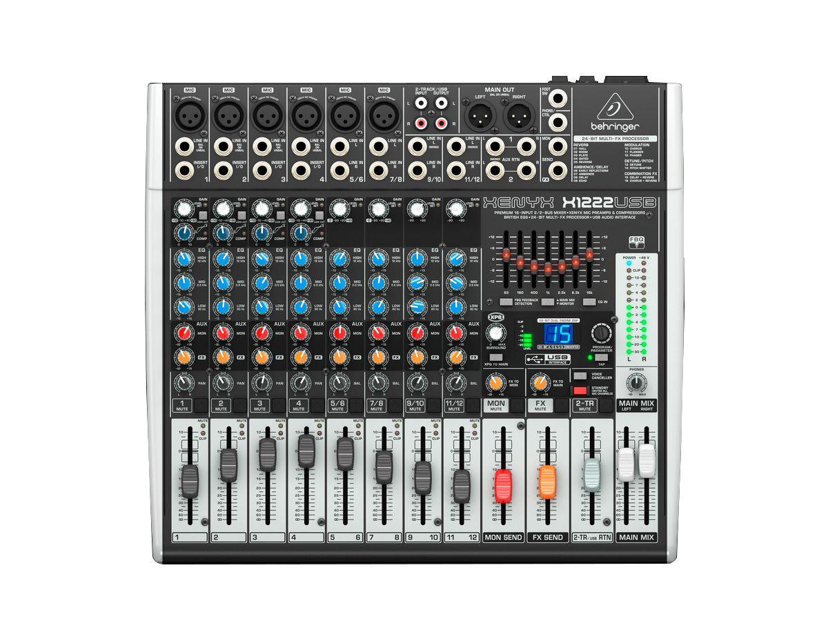 Mesa analógica 8 canais,  6 canais com pré-microfone Xenyx + 2 canais estéreo | Behringer | XENYX X1222USB