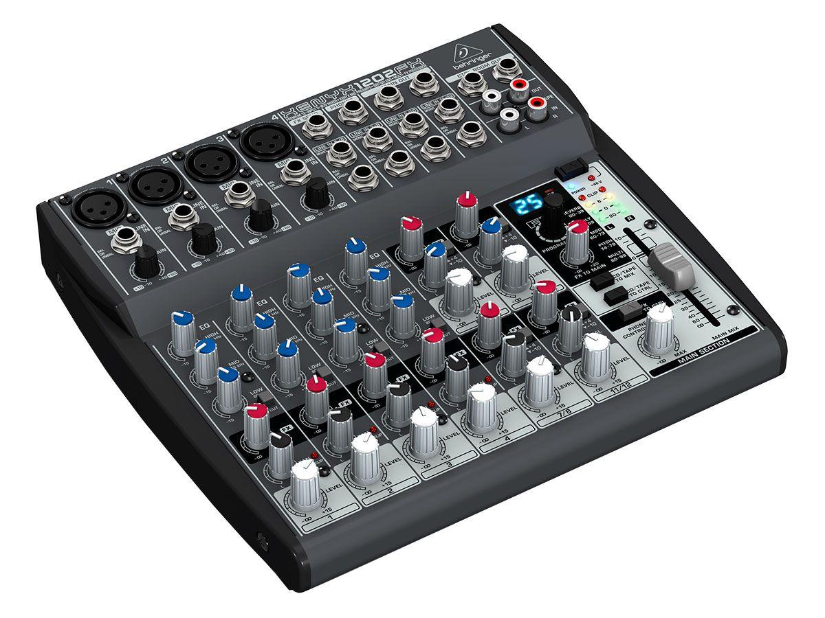 Mesa 4 canais XLR + 4 estéreo EQ FX Behringer XENYX 1202FX