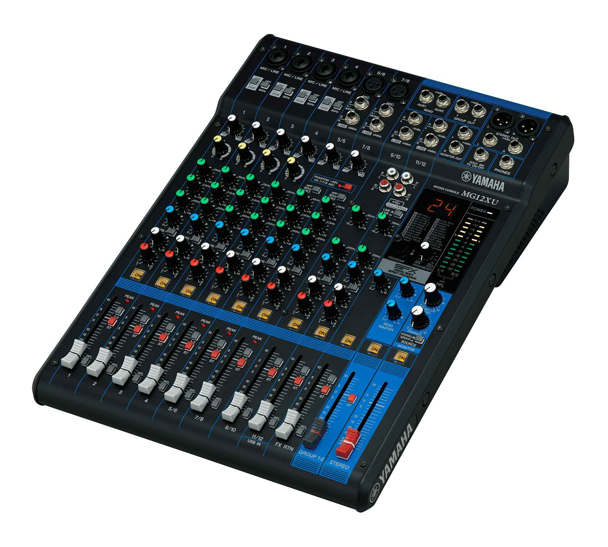 Mesa com 12 in, 2 Aux, 3 out, USB e FX Yamaha MG12XU