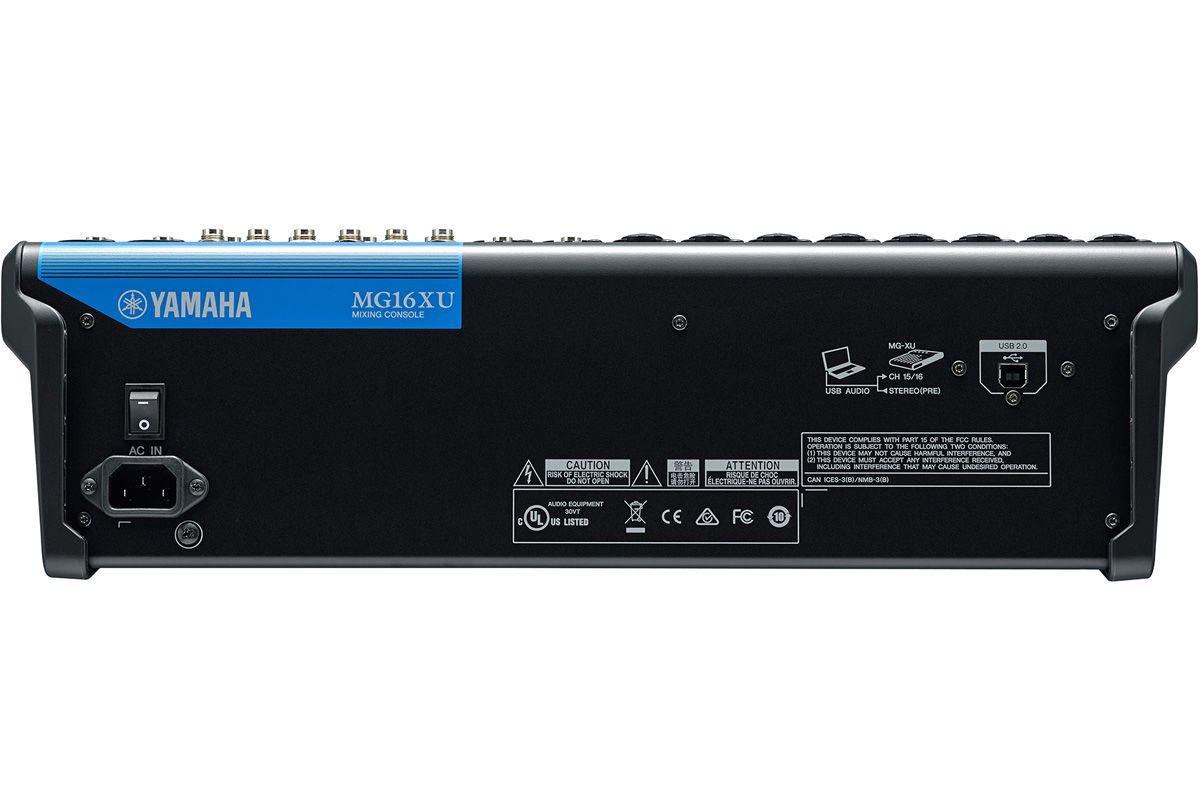 Mesa de som com 16 canais, 4 saídas AUX, USB e FX MG16XU