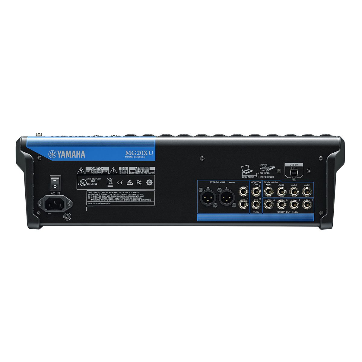Mesa 20 In, 4 Aux, 4 out, USB e FX Yamaha MG20XU
