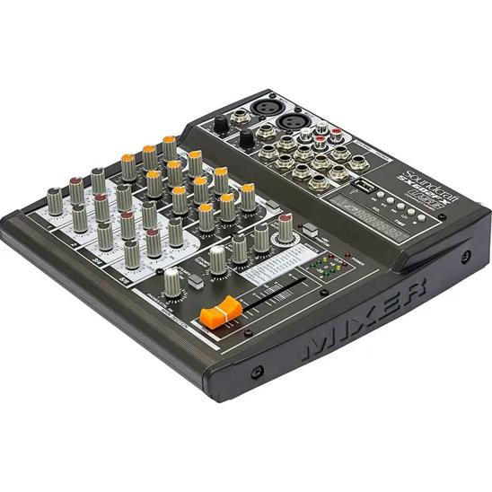 Mesa de Som com 2 entradas para microfone, 2 entradas de Linha estéreo e USB   SOUNDCRAFT    SX602FX