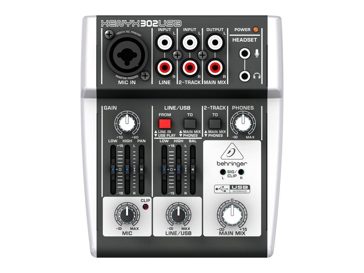 Mesa de som e interface com 1 pré-amplificador de microfone, 2 entradas de linha, Phantom 48v e USB | Behringer | 302USB