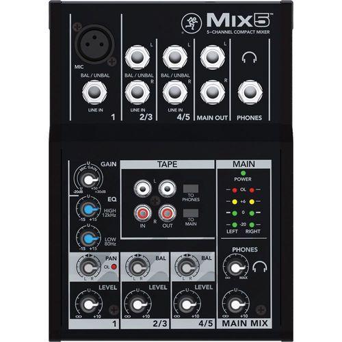 Mesa 1 canal com 48v p/ microfone +2 canais estéreo Mackie MIX5