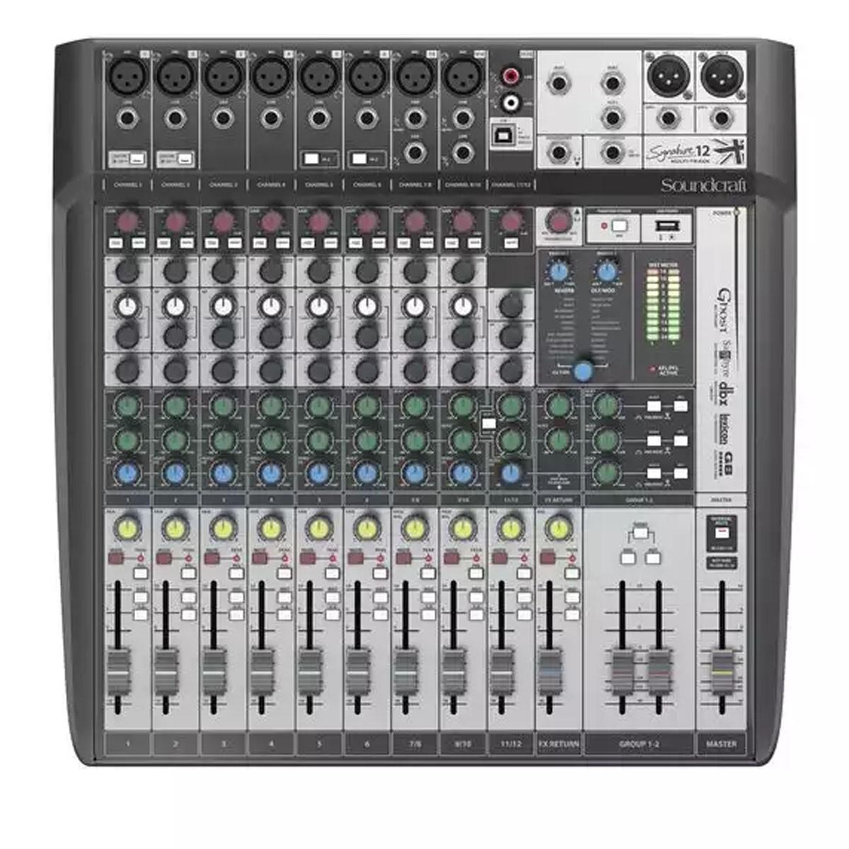 Mesa de Som Soundcraft Signature 12 MTK Multi-Track USB 12 Canais