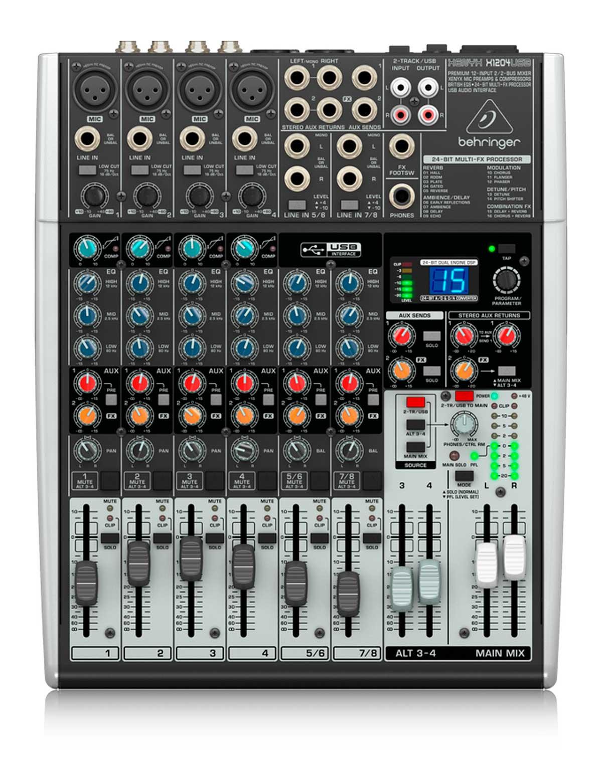 Mesa digital com 6 canais, 1 AUX, FX, COMP e USB| Behringer | XENYX X1204USB